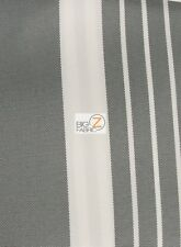 OXFORD STRIPE OUTDOOR CANVAS WATERPROOF FABRIC - Gray - BY THE YARD ANTI-UV