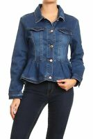 Women's Juniors Premium Denim Peplum Bodice Long Sleeve Jacket