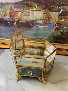 Rachel Ashwell Shabby Chic Beveled Glass Gold Jewelry Trinket Box Gorgeous NWT