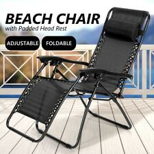 Zero Gravity Sun Beach Chair Reclining Deck Lounge Folding Outdoor Camping-Black