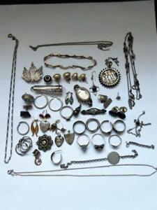 JOB LOT OF VINTAGE SOLID SILVER JEWELLERY Bracelets, earrings, charms ect - 150g