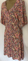 New NEXT Pink Paisley Print Stretch Wrap Tea Dress Size 8 10 12 14 16 18 20 22