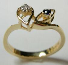 DIAMOND  & SAPPHIRE RING IN 14K YELLOW GOLD