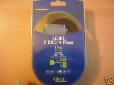 Scart plug to two BNC plugs and 4  Phono plugs 1.5 metres long unusual    Z1161