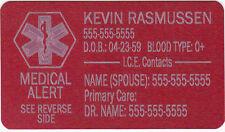 METAL MEDICAL ALERT WALLET CARD CUSTOM ENGRAVED