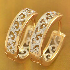 Filigree Hoop Huggie Earrings 18K Gold Filled white Gold Filled Womens Girls