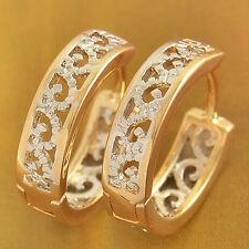 Filigree Hoop Huggie Earrings 18K Gold Filled white Gold Filled Womens Girls