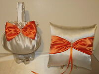 Beautiful Flower Girl Basket and Ring Pillow   YOUR CUSTOM COLORS