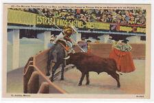 Toreador Horse Bull Fighting Arena Juarez Mexico linen postcard