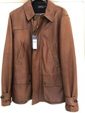 Polo Ralph Lauren Italy Shearling Collar Brown Leather Coat Jacket Sz L w/ Tags
