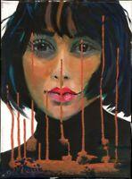 "Expressionistin L. Sansores Cota Öl Leinwand ""Porträt"" 40 x 30 cm"
