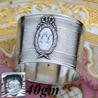 """Antique French Sterling Silver Napkin Ring, Guilloche Style """"Stars"""", """"LL"""" Monogm"""