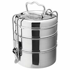 Edelstahl Lunch Box Food Container 3 Tier Indian Tiffin runde Carrier Set
