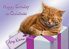 Personalised Ginger Cat Birthday or Christmas Card + blank textured white insert