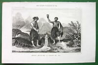 EXPLORER BRUCE Discovers Source of Nile River Africa - 1843 Engraving Print
