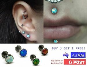 Opal Stud Internal Thread Ring Bar Lip Ear Earring Nose Tragus Helix Piercing