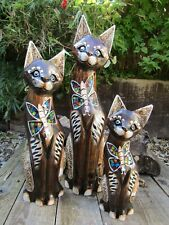 More details for hand carved made wooden cat pet animal statue ornament statue sculpture
