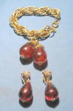 Vintage CORO Chunk Amber Lucite Bracelet & Clip-On Earrings Set