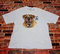 Vintage 90s English Bulldog Size XL Single Stitch T Shirt Gray Graphic