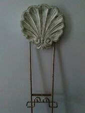 GOLD & SHELL Wall Mount Decorative Plate Rack ~ Holds 3 Plates