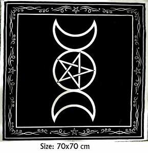 Triple Moon Altar Cloth Tarot Card Table Black Magic Witch Wiccan Pagan 70x70cm