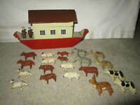 Antique folk art, painted wooden Noah's Ark toy w 20 animals, circa 1900 Europe?