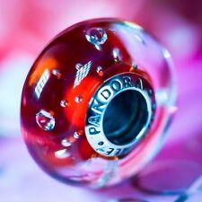 Genuine PANDORA Effervescence Murano Glass Royal Red Fizzle Charm S925 ALE