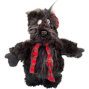 Hansa Black Skye Terrier Dog Scottish Scottie Stuffed Plush Toy Plaid Cap Scarf