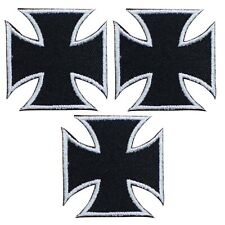 """Maltese Iron Cross Applique Patch - Black, Silver Badge 1.5"""" (3-Pack, Iron on)"""