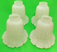 2002 Ceiling Fan Glass Lamp White Fluted Frosted Spatter Bell Shades Set of 4