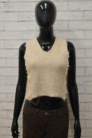 Maglione JUST CAVALLI Donna Taglia 42 Pullover Sweater Smanicato Woman Seta Lana