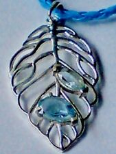 "STERLING SILVER & BLUE TOPAZ FILIGREE LEAF PENDANT on18""LEATHER THONG £16.95 NWT"