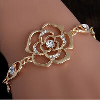 Fashion Woman Gold Plated Crystal Women Adjustable Flower Bangle Bracelet Chain