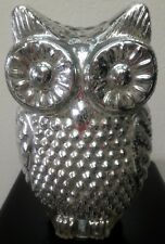 GLASS OWL LAMP NICE SILVERTONE DESIGN TABLE TOP WARM SOFT LIGHT BATTERY OPERATED