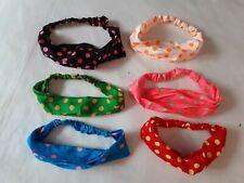 Lotto stock 6 fascia bandana per capelli donna ragazza bimba pois vari colori
