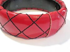 CHERRY RED VINYL WRAPPED AND BLACK STITCHING BANGLE BRACELET CONTEMPORARY MODERN
