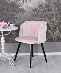 Dining Chair Pink Velvet Retro Upholstered Armrest Vintage Design
