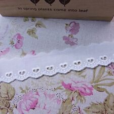 Broderie Anglaise Cotton Eyelet Lace Trim Rose Floral 2.5cm Wide OffWhite  5yds
