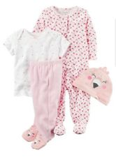 Carter's Baby Girls 4- Piece Bodysuit Hat Set Size 6 Months