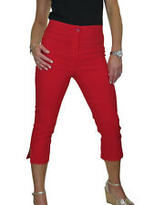 Ice Womens High Waist SKINNY Stretch Pedal Pushers Cropped Trousers 8-22 Red 10