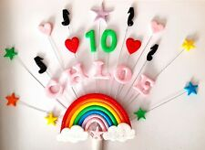Rainbow heart, musical note birthday cake topper, personalised name and age