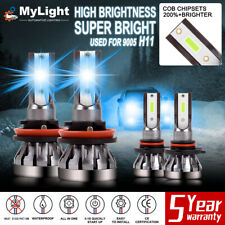 4 Pcs 9005+H11 LED Combo Headlight Ice Blue 8000K Fog Light High Low Beam Bulb