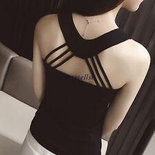 Korean Summer Women Backless Casual Slim Cami Tank Top Shirt Blouse Vest Black M