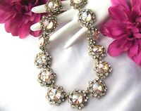 Glittering Vintage Style Champaign Crystal  Rhinestone & Glass Necklace
