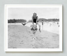 Bathing Girls playing leapfrog retro photo girls in swimming suit B&W Vintage
