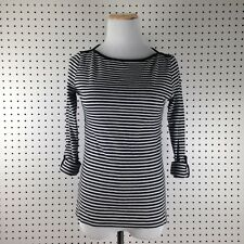 Jones New York Signature Black & Gray  Striped Longsleeve Blouse Shirt Top Sz Sm