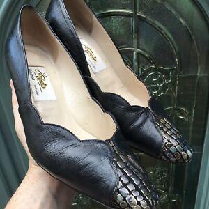 Vintage Italian Leather 80s Shoes Size 39 (uk 6)