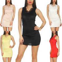 Damen sexy Minikleid Stretch Party Clubwear Spitze tanzen 34 36 38 40 XS S M L