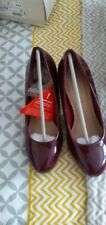 """SIZE 5 PLUM PATENT PLATFORM HEELED COURT SHOES. """"SHOE BOX"""" NEW IN BOX"""