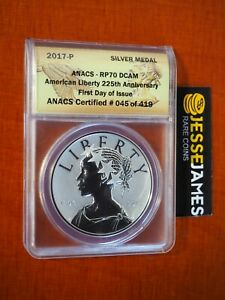 2017 P AMERICAN LIBERTY REVERSE PROOF SILVER MEDAL ANACS RP70 FIRST DAY OF ISSUE